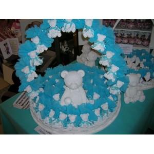 Ours blanc avec Bébé garni turquoise 40 pièces