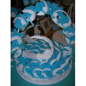 Bébé plume turquoise 40 pièces avec dragées et étiquette