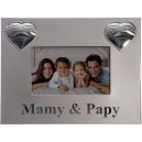 Grand cadre gris cœur argent Mamy et papy