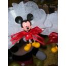 Mickey debout rouge avec dragée et étiquette