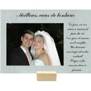 plaque en verre grav avec espace photo mariage - Cadre Photo Mariage Grav
