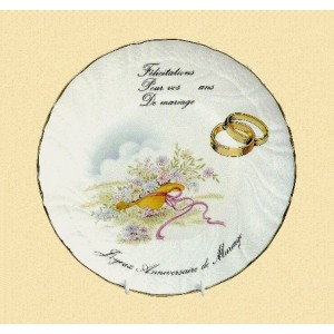 Assiettes porcelaine félicitation pour votre anniversaire de mariage