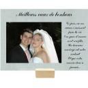 Plaque en verre gravé avec espace photo mariage